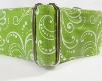Whimsy Lime Green with White Swirls Greyhound Martingale Collar