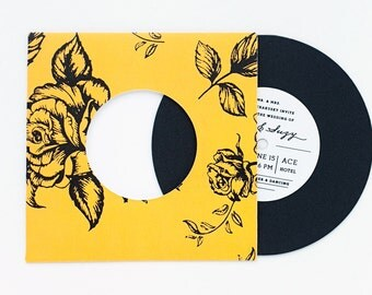 Record with Floral Pattern Sleeve Invitation