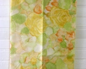Fat Quarter Reclaimed Bed Sheet Yellow Orange Green Watercolor Fabric Quilting Sewing Crafts
