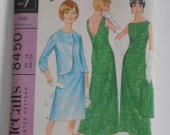 Vintage 60s Misses Backless Evening Dress or Gown with Jacket Pattern McCalls 8450 Pauline Trigere Size 14 Bust 34  UNCUT