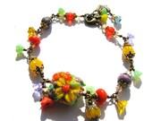 Colorful Lampwork Bracelet, Floral Beaded Flower Bracelet, Antiqued Brass Bracelet, Ready To Ship, Gift For Her