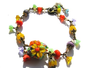 50% OFF SALE, Colorful Lampwork Flower Bracelet, Red Yellow Purple, Boho Chic Bracelet, Antiqued Brass Bracelet, Original Gift for Her