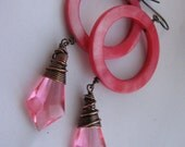 Watermelon Neon Pink Mother of Peal Hoops with Bright Pink Vintage Wire Wrapped Resin Diamonds