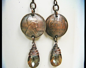 Domed Penny and Wire Wrapped Bronze Swarovski Crystals- Your Choice of Regular or Wheat Pennies