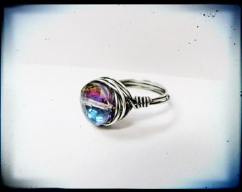 Silver Wire Wrapped Sparkly Mystic Mauve Ring