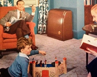 Living Room Photo 1945 Family Magazine Home Appliance Furnace Cover
