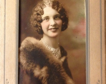 Antique Photo of Lovely Young Lady in Fur and Pearls Colorized Tinted Photograph in Folder Frame