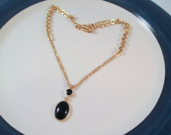 Gold Toned Chain with Black Onyx Pendant Necklace