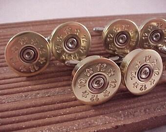 Shotgun Cufflinks / Gift Set 5 Pair / 12 Gauge Shotgun Cuff Links / Wedding Cufflinks / Real Shotgun Shells / Groomsmen Gifts