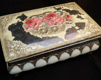 SALE - Last Chance - Vintage Shabby Chic Victorian Metal Jewelry Box