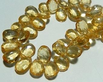 Champagne Quartz Gemstone. Faceted, Pear Briolette, Semi Precious Gemstone Briolette. 11-14mm. Pair or Non Match 1 to 9 Briolettes (9lqz5)