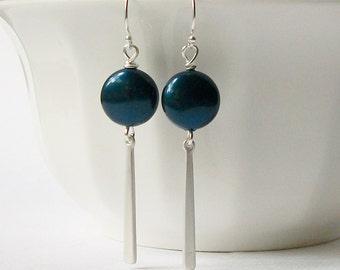 Petrol Pearl Green Blue Dangle Earrings Wedding Jewelry