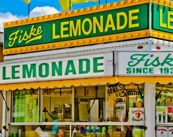 Lemonade Stand Carnival Food Vendor Fine Art Print- Carnival Art, County Fair, Nursery Decor, Home Decor, Children, Baby, Kids