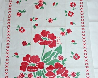 Vintage Red Flowers Kitchen Towel