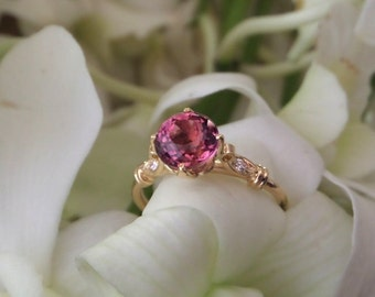 Petal Lotus in 18k Yellow Gold with Top Quality Pink Tourmaline and Diamonds, Engagement or Right Hand Ring, Made to Order