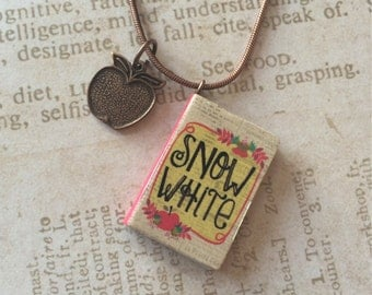 Snow White Book Necklace with Apple