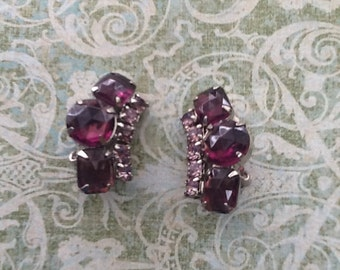 Vintage Amethyst Lavender Rhinestone Earrings Bridal Prom Glam Clip
