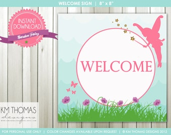INSTANT DOWNLOAD - Garden Fairy: Welcome Sign and Happy Birthday Sign - Item 119
