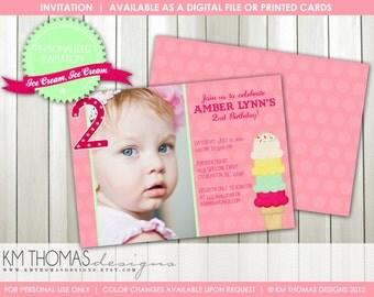 Ice Cream Party  Birthday Invitation...by KM Thomas Designs...Item #131