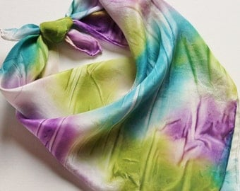 Hand Painted Silk Square Scarf - Hand Dyed Bandana Olive Green Turquoise Teal Blue Purple Violet White