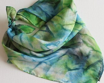 Hand Painted Silk Square Scarf - Hand Dyed Bandana Slate Blue Navy Lime Green Garden Chartreuse Gray Grey Ocean Sea