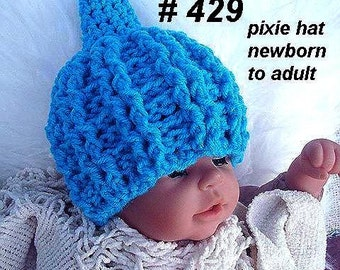 crochet pattern hat num 429, Cable Stitch PIXIE HAT, baby to adult sizes, ok to sell your finished hats