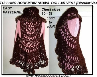 Crochet PATTERN- Sweater, Vest, Jacket ,#718
