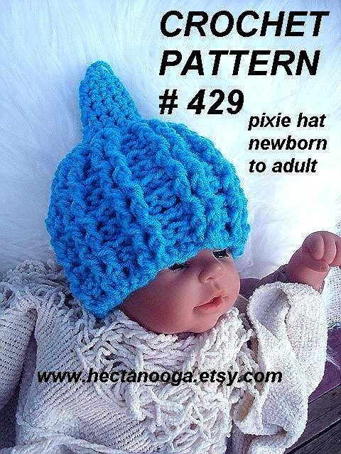 Crochet Pattern Baby Pixie Hat : crochet pattern hat num 429 Cable Stitch PIXIE HAT baby to