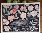 Night Loon and Wild Roses - Archival Print