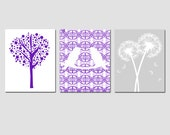 Nursery Art Trio - Set of Three 11x14 Prints - Love Birds, Tree Dot, Dandelion Floral - Choose Your Colors - Shown in Purple, Lavender, Gray