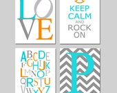 Modern Nursery Art Quad - Love, Keep Calm and Rock On, Modern Alphabet, Chevron Initial - Set of Four 8x10 Prints - CHOOSE YOUR COLORS