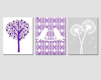 Nursery Art Trio - Set of Three 11x14 Prints - Love Birds, Tree Dot, Dandelion Floral - Choose Your Colors - Shown in Purple, Lavender, Gray
