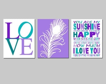 Girl Nursery Art Trio - Love Typography, Peacock Feather, You Are My Sunshine Quote - Set of Three 11x14 Prints - CHOOSE YOUR COLORS