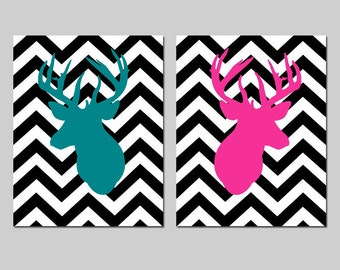 Chevron Deer Wall Art Chevron Deer Decor Chevron Deer Art Prints Chevron Deer Nursery Art Set of 2 Woodland Art - CHOOSE YOUR COLORS