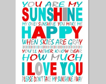 You Are My Sunshine Nursery Decor Kids Wall Art - 11x14 Nursery Art Print - CHOOSE YOUR COLORS