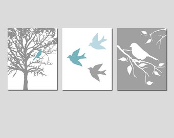 Wall Art - Modern Bird Trio - Set of Three 8x10 Prints - Modern Nursery - Choose Your Colors - Shown in Teal Blue, Baby Blue, White, Gray