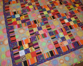 Kaffes Colorful Stripes and Squares Modern Quilt