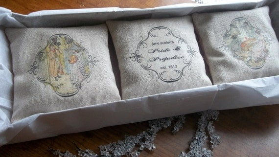 Jane Austen-Pride and Prejudice-Burlap Style Sachet Gift Set Featuring Vintage Illustrations and Dried Lavender