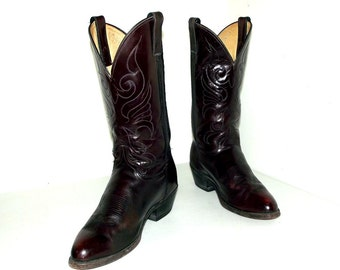 Vintage Western Cowboy Boots - Maroon - size 9 M or womens size 10.5