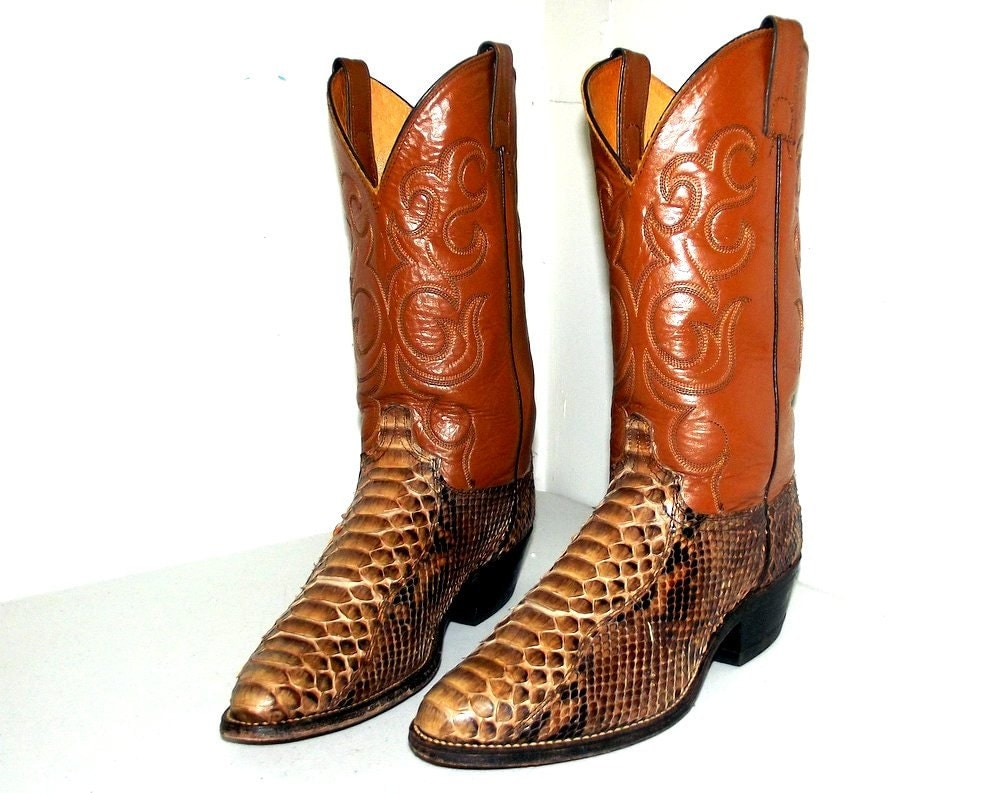 brown snakeskin cowboy boots size 8 5 ee by
