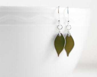 Dwell Earrings in moss green resin and sterling silver-- army olive cypress autumn fall foliage