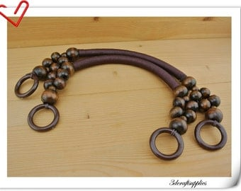 46cm  Dark brown wooden bead handles a pair Y68