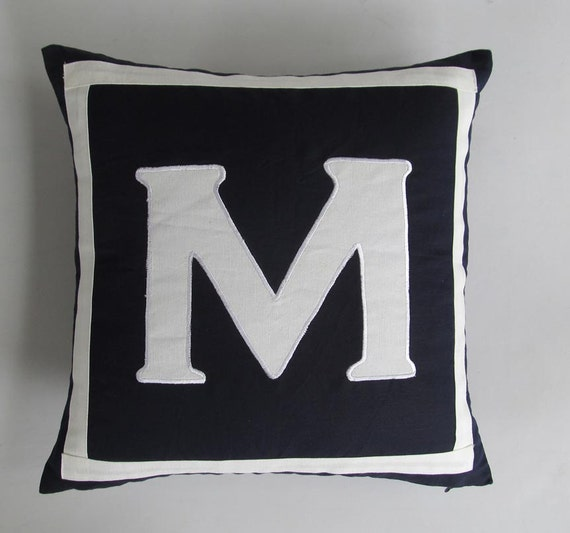 Midnight blue monogrammed pillows -20 inches navy and monagram M in white instock ready to  go. Can be  customised.