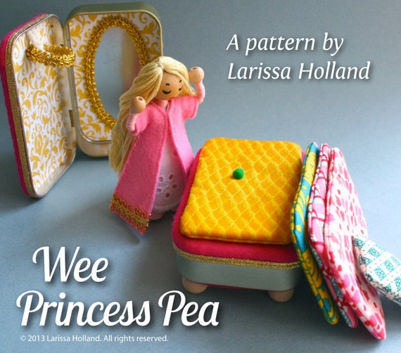 Wee Princess Pea PDF pattern for a purse-sized fairy tale playset