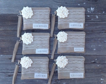 6 Personalized Wedding Wristlets -Bridesmaid Gift - Bridal Party Gift - Burlap and Lace Bag - Rustic Wedding - Bridesmaid Clutch - Bride Bag
