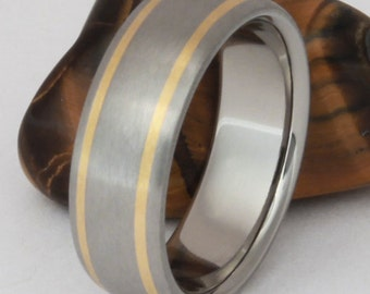 Gold Titanium Wedding Ring, Mans Wedding Band, Woman's Wedding Band, Handcrafted Wedding Band, His and Hers Ring Set - g11