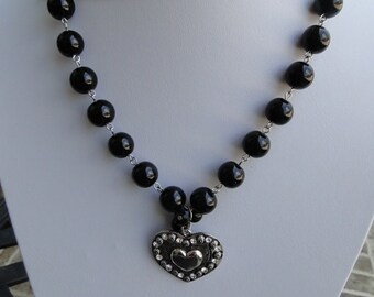 Heart Pendant with Black Bead Necklace, Black Beads and Chain, Cowgirl Heart Necklace, Texas Redhead Boutique
