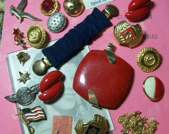 Repurpose rhinestone fashion vintage patriotic July red white blue flag  charm mixed media destash bridal wedding collage