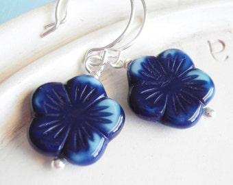 Beaded Flower Earrings - Blue Flower