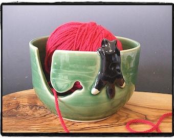 Yarn Bowl with Cute Tuxedo cat in True Green by misunrie